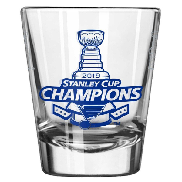 Picture of St. Louis Blues 2019 Stanley Cup Champions 2oz. Satin Etch Shot Glass
