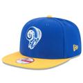 Picture of Men's Los Angeles Rams New Era Royal/Gold Ram Head Historic Logo Baycik 9FIFTY Snapback Adjustable Hat
