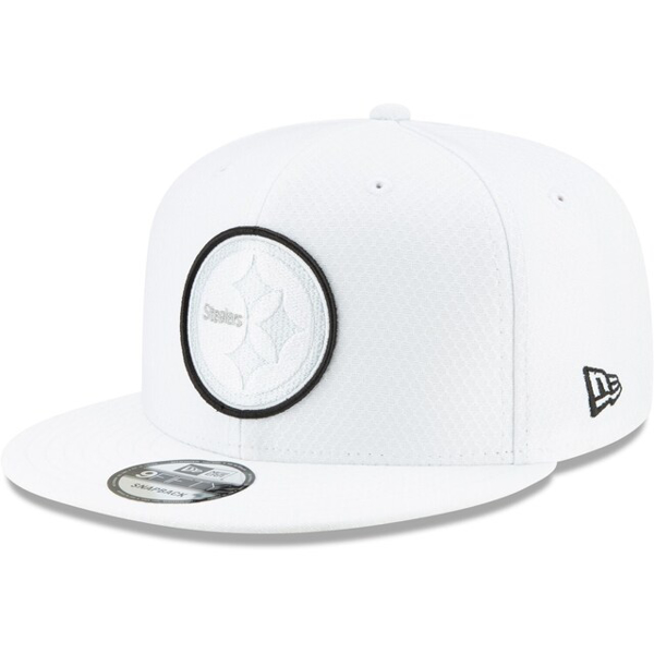 Men's New Era White Pittsburgh Steelers 2019 NFL Sideline Platinum 9FIFTY Snapback Adjustable Hat