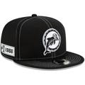 Men's Miami Dolphins New Era Black 2019 NFL Sideline Road Historic Logo 9FIFTY Snapback Adjustable Hat
